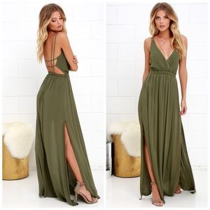Lulu's Olive Green Maxi Strappy Dress